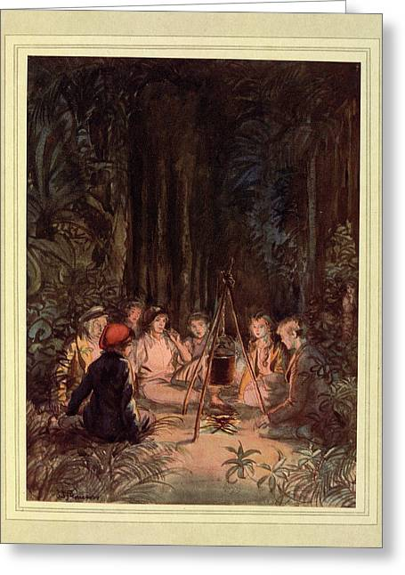 Around A Fire Greeting Card by British Library