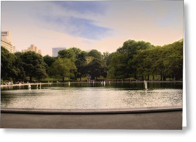 Around The Central Park Pond Greeting Card by Madeline Ellis