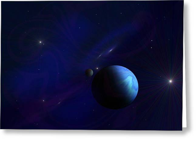Around The Cosmos Greeting Card by Ricky Haug