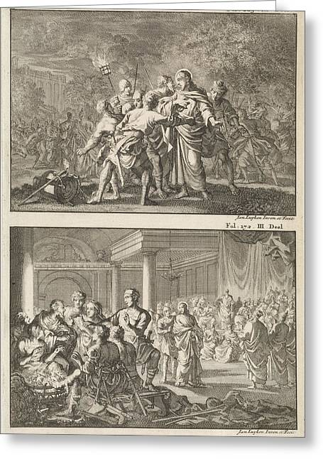 Arrest Of Christ And Peter Denies Christ Greeting Card by Jan Luyken And Willem Broedelet