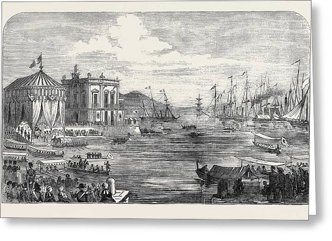 Arrival At Naples Of The King Of Portugal Greeting Card