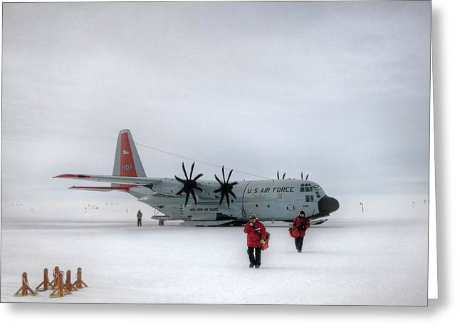 Arrival At South Pole Research Station Greeting Card