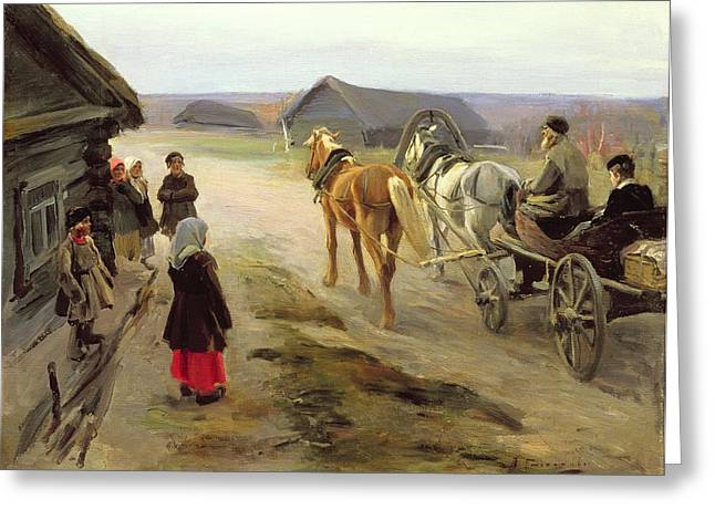 Arrival Of A School-mistress In The Country, C.1908-14 Oil On Canvas Greeting Card