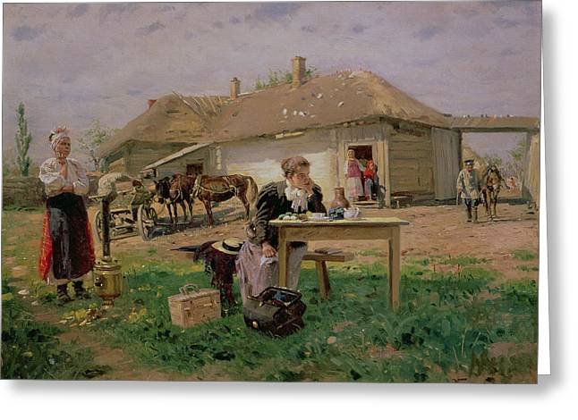Arrival Of A School Mistress In The Countryside, 1897 Oil On Canvas Greeting Card