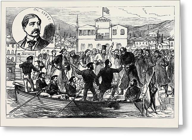 Arrival Of Colonel Synge At Salonica After His Release Greeting Card by English School