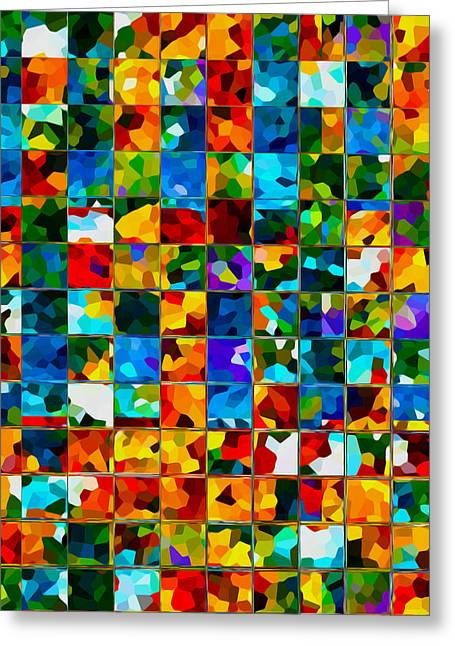 Art Abstract Rainbow Tiles Pattern Background Greeting Card by Lanjee Chee