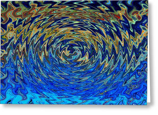 Art Abstract Vibrant Colorful Background With Waved Spiral Greeting Card by Lanjee Chee
