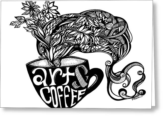 Art And Coffee Greeting Card