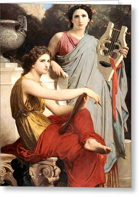 Art And Literature Greeting Card by William Bouguereau