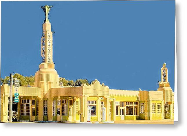 Greeting Card featuring the photograph Art Deco Gas Station by Janette Boyd