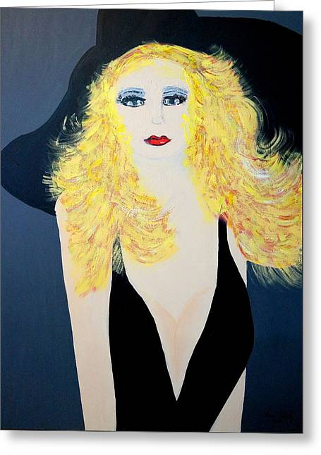 Art Deco Girl With Black Hat Greeting Card