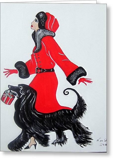 Greeting Card featuring the painting Art Deco  Girl With Red  Coat by Nora Shepley