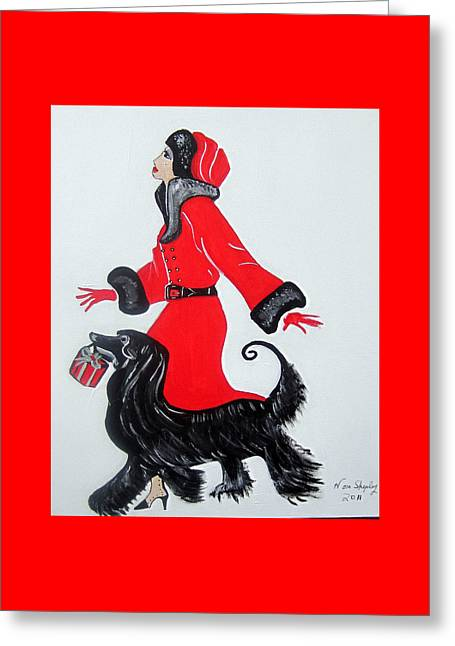 Art Deco  Girl With Red  Coat Greeting Card