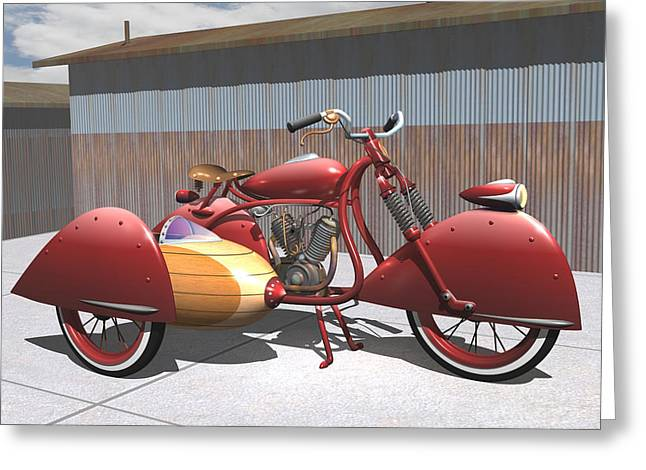 Art Deco Motorcycle With Sidecar Greeting Card by Stuart Swartz