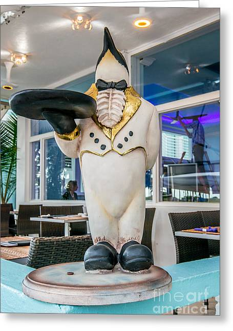 Art Deco Penguin Waiter South Beach Miami Greeting Card