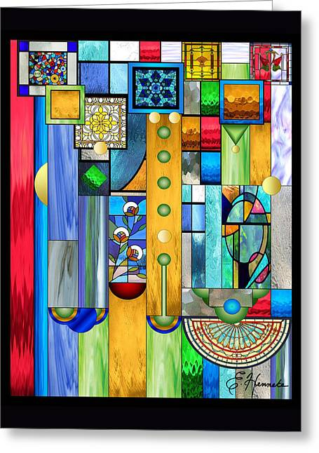 Art Deco Stained Glass 1 Greeting Card by Ellen Henneke