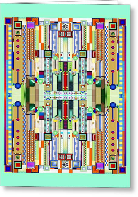 Art Deco Stained Glass 2 Greeting Card by Ellen Henneke