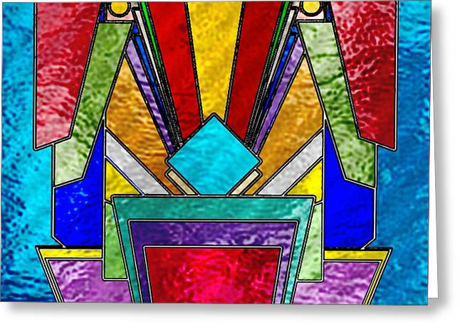 Art Deco - Stained Glass 6 Greeting Card by Chuck Staley