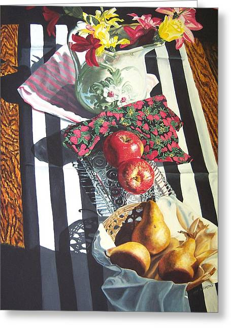 art for sale still life oil painting print Stripes and Fruit Forever  Greeting Card by Diane Jorstad