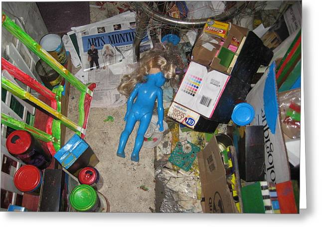 Art Gallery Art - Blue Doll In The Basement Greeting Card by David Lovins