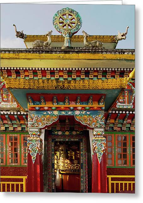 Art In A Buddhist Monastery, Sikkim Greeting Card by Jaina Mishra