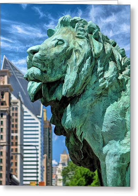 Art Institute In Chicago Lion Greeting Card by Christopher Arndt