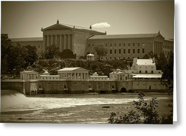 Art Museum And Fairmount Waterworks - Bw Greeting Card by Lou Ford