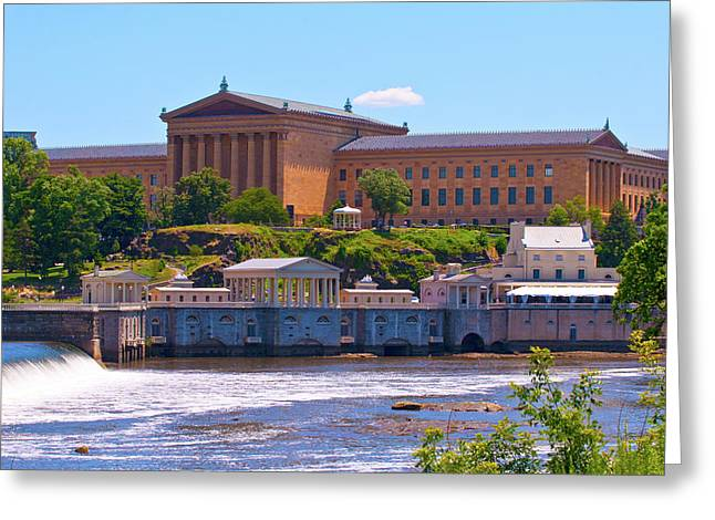 Art Museum And Fairmount Waterworks - Hdr Greeting Card by Lou Ford