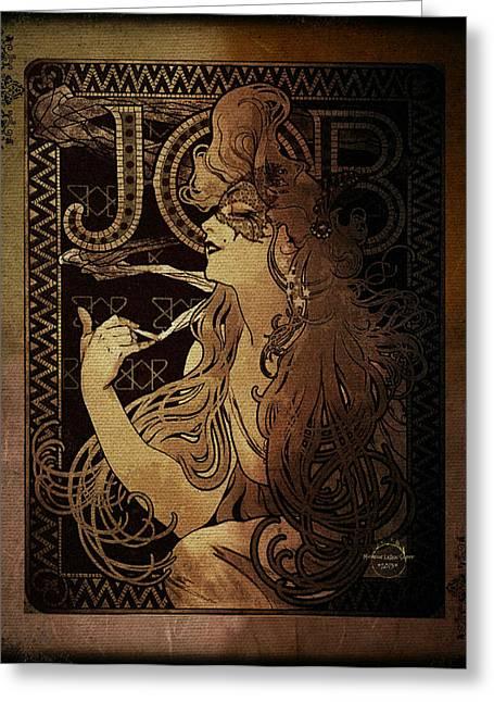 Art Nouveau Job - Masquerade Greeting Card by Absinthe Art By Michelle LeAnn Scott