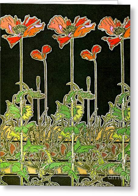 Art Nouveau Poppies 1901 Greeting Card