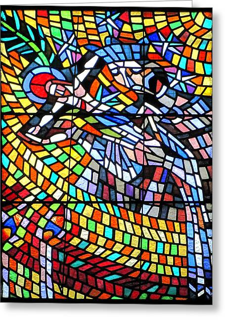 Art Nouveau Stained Glass Windows Ss Vitus Cathedral Prague Greeting Card by Christine Till