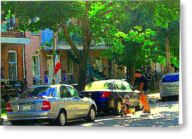 Art Of Montreal Day With Daddy And Yellow Wagon Zooming Our Streets Of Verdun Scene Carole Spandau  Greeting Card by Carole Spandau