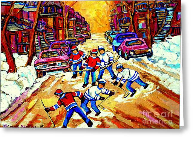 Art Of Montreal Hockey Street Scene After School Winter Game Painting By Carole Spandau Greeting Card by Carole Spandau