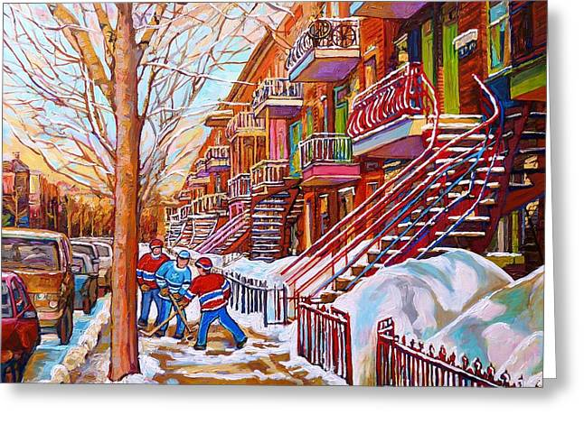Art Of Montreal Staircases In Winter Street Hockey Game City Streetscenes By Carole Spandau Greeting Card by Carole Spandau