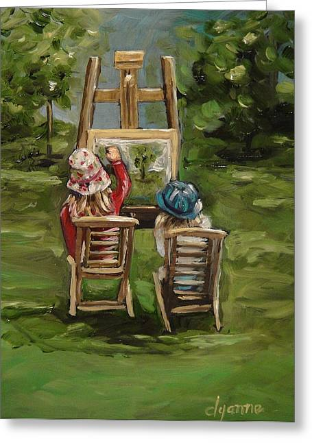 Art Of Teaching Oil Painting Greeting Card by Dyanne Parker
