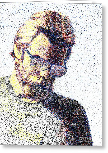 Art Pointillism Male Portrait  Greeting Card