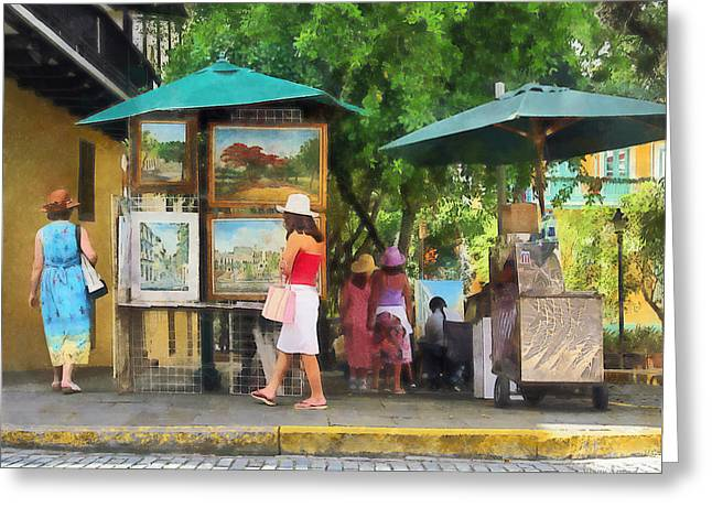 Art Show In San Juan Greeting Card by Susan Savad