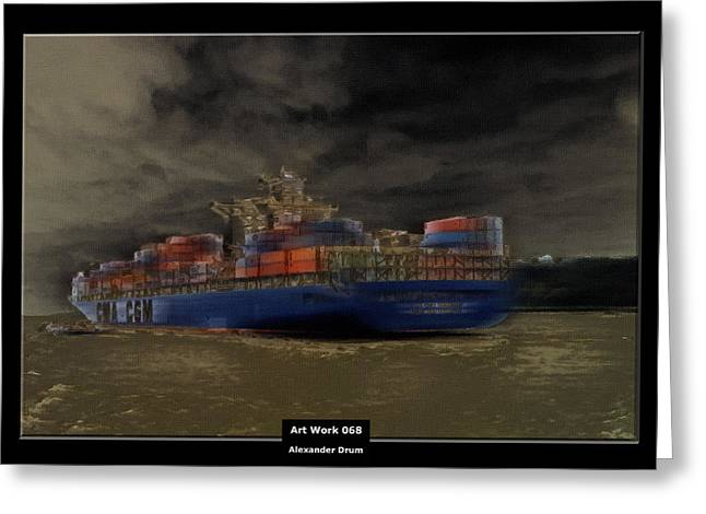Art Work 068 Container Ship Greeting Card by Alexander Drum