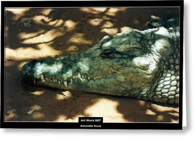 Art Work 087 Crocodile Greeting Card by Alexander Drum