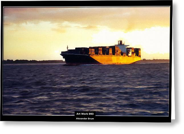 Art Work 093 Container Ship Greeting Card by Alexander Drum