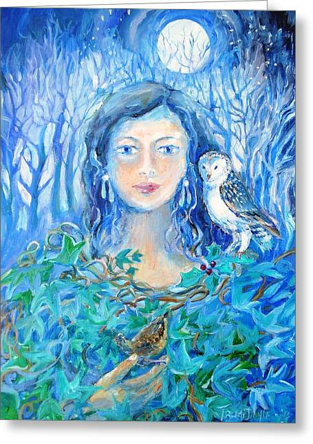 Artemis And The Wren- Greeting Card by Trudi Doyle