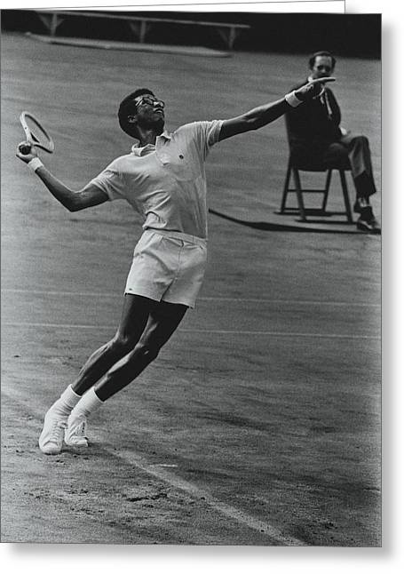 Arthur Ashe Playing Tennis Greeting Card by Jack Robinson