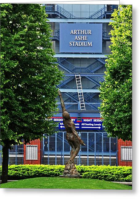 Arthur Ashe Stadium Greeting Card by Mike Martin