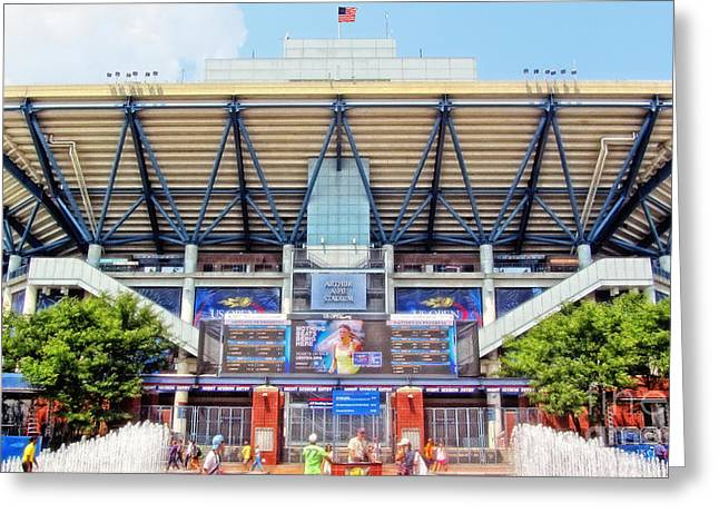 Arthur Ashe Tennis Stadium Greeting Card by Nishanth Gopinathan