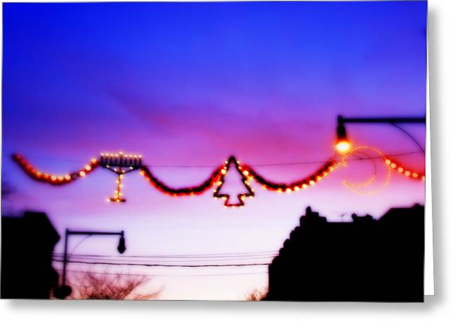 Greeting Card featuring the photograph Arthur Avenue Holiday Lights by Aurelio Zucco