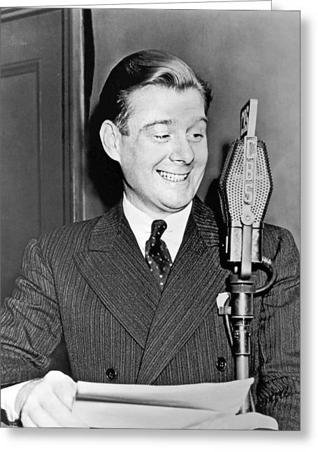 Arthur Godfrey Broadcasting Greeting Card by Underwood Archives