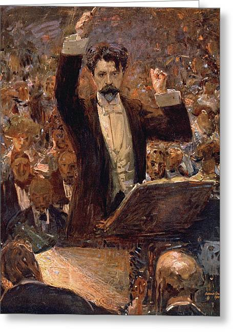 Arthur Nikisch Conducting A Concert At The Gewandhaus In Leipzig Greeting Card by Robert Sterl