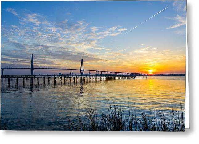 Greeting Card featuring the photograph Calm Waters Over Charleston Sc by Dale Powell