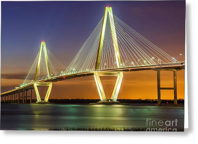 Arthur Ravenel Bridge Twilight Greeting Card