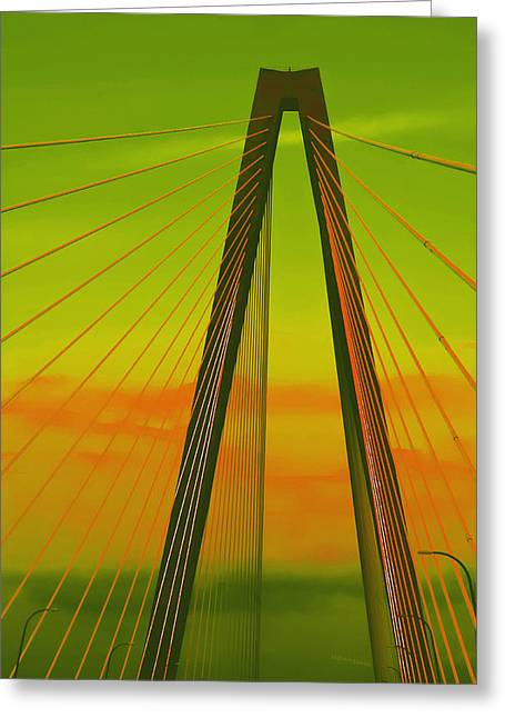 Arthur Ravenel Jr Bridge V Greeting Card by DigiArt Diaries by Vicky B Fuller